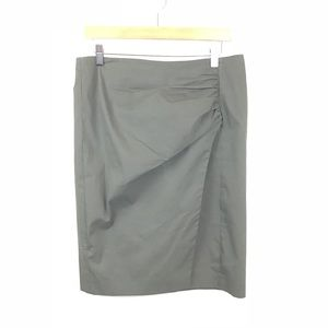 ETRO Skirt Army Green Pencil Ruched Slit 46